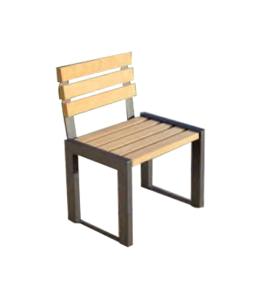 Stuhl -Delion- aus Stahl, Sitz- und Rückfläche aus Hartholz