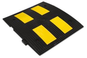 Temposchwelle <,50 km / h aus PP, kautschukummantelt mit Stecksystem, Höhe 45 mm, stabil und flexibel (Modell/Breite: Endstück/300 mm (Art.Nr.: 15834))
