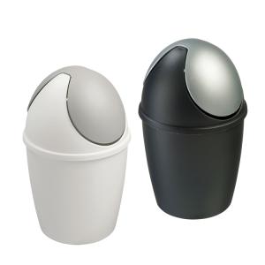 Tisch-Abfallbehälter -Tiglio- 1,5 Liter, aus Polyethylen, mit Schwingdeckel, VE 6 Stück (Farbe/Verpackungseinheit:  <b>schwarz/silber</b> / VE 6 Stück (Art.Nr.: 37787))