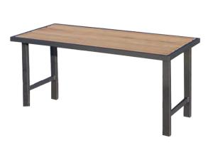 Tisch -Delion- aus Stahl, Abstellfläche aus Hartholz