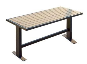 Tisch -Delion- aus Stahl, Abstellfläche aus Hartholz, Gestell T-förmig