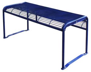 Tisch -Dita-, aus Stahl, Abstellfläche aus Gitternetz, Mobil (Farbe: RAL6009 tannengrün (Art.Nr.: 20973))