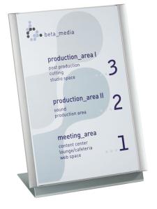 Tischaufsteller -Atlantic- mit Infotafel DIN A4 oder A3 (Modell/BxHxT: mit Infotafel DIN A4<br>208x307x120mm (Art.Nr.: at1610))