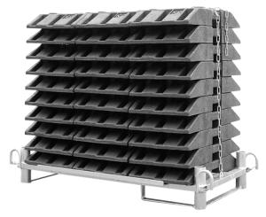 Transport- und Lagerpalette für 30 Fußplatten, staplergeeignet (Ausführung: Transport- und Lagerpalette für 30 Fußplatten, staplergeeignet (Art.Nr.: 36698))