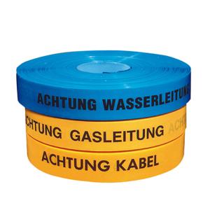 Trassenwarnband, Länge 250 m, verschiedene Breiten, Farben und Texte, VPE 10 Stk.