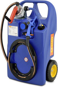 Trolley -AdBlue®- 60 oder 100 Liter aus Polyethylen, mit Kurbel- oder Elektropumpe (Volumen/Maße/Modell/Förderleistung/Ausstattung:  <b>60 Liter</b><br>900x530x380mm, Räder Ø 240mm,<br>inkl.  <b>Kurbelpumpe</b> mit 0,38l pro Umdre