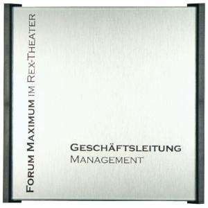 Türschild -Box- aus ABS Kunststoff und Aluminium in Edelstahloptik (Maße (BxHxT): 154 x 110 x 12 mm (Art.Nr.: bo2000))
