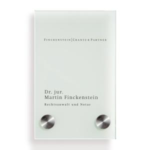 Türschild -Cristallo- aus Sicherheitsglas, mit Edelstahlhalter (Maße (BxH)/Befestigung :  <b>100x160mm</b><br>2 Halter Ø18mm (Art.Nr.: cr2900))