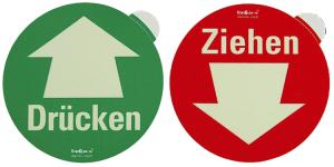 Türschild Drücken / Ziehen, langnachleuchtend (Aufdruck: Drücken / einseitig bedruckt, grün (Art.Nr.: 38.4960))