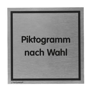 Türschild -Tello- aus Aluminium, 110x110mm, selbstklebend, Text / Piktogramm nach Wahl (Ausführung: Türschild -Tello- aus Aluminium, 110x110mm, selbstklebend, Text/Piktogramm nach Wahl (Art.Nr.: te1100))