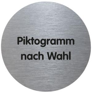 Türschild -Tello- aus Aluminium, Ø 70 mm, selbstklebend, Text / Piktogramm nach Wahl (Ausführung: Türschild -Tello- aus Aluminium, Ø 70 mm, selbstklebend, Text/Piktogramm nach Wahl (Art.Nr.: te2100))