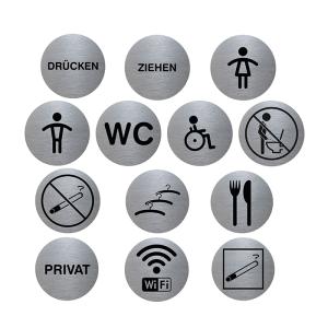 Türschild -Tello- aus Aluminium, Ø 70 mm, selbstklebend (Piktogramm: Drücken (Art.Nr.: te2000-01))
