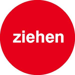 Türschild Ziehen, einseitig, selbstklebende Folie, rot (Maße Ø : 60 mm (Art.Nr.: 21.5364))