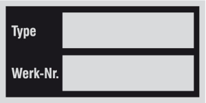 Typen- und Leistungsschild 52 x 26 mm, zur Selbstbeschriftung (Material/Variante: Alufolie, selbstklebend / 6er-Bogen<br>Schreibmaschinen beschriftbar (Art.Nr.: 28.1856))