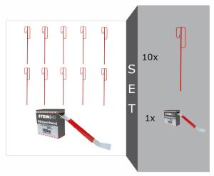 UVV-Bügel-Laterneneisen mit Absperrband -Strong-, Set, mit 10 Laterneneisen und 1 Absperrbandrolle rot / weiß geblockt (Ausführung: UVV-Bügel-Laterneneisen mit Absperrband -Strong-, Set, mit 10 Laterneneisen und 1 Absperrbandrolle rot