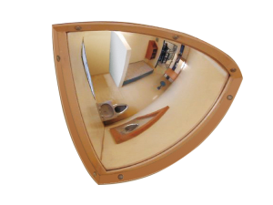 Überwachungsspiegel -Morion- aus Edelstahl, für Sicherheitsbereiche, unzerbrechlich (Maße (BxH)/Beobachterabstand/Blickrichtungen:  <b>250 x 250 mm</b>/4 m<br>für 2 Blickrichtungen (Art.Nr.: 33422))