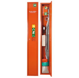 Verbandschrank -Safe- aus Stahlblech, wahlweise mit Inhalt, 300 x 2000 x 200 mm (Farbe/Inhalt: orange/ <b>ohne</b> Inhalt (Art.Nr.: 29030))