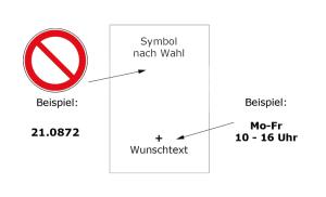 Verbots-Kombischild mit Verbotszeichen und Text nach Wahl (Maße (BxH): 131 x 185 mm (max. 20 Zeichen) (Art.Nr.: 51.1062))