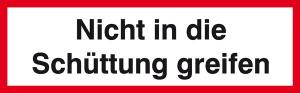 Verbots-Zusatzschild, Nicht in die Schüttung greifen (Ausführung: Verbots-Zusatzschild, Nicht in die Schüttung greifen (Art.Nr.: 21.0930))