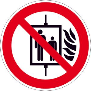Verbotsschild, Aufzug im Brandfall nicht benutzen (Maße(Ø)/Material: 100 mm / langnachleuchtend (Art.Nr.: 38.a6150))