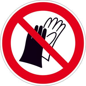 Verbotsschild, Benutzen von Handschuhen verboten (Maße Ø/Material: 100mm/Alu,geprägt (Art.Nr.: 11.a6222))