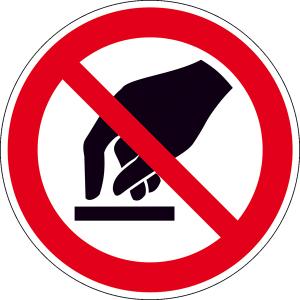 Verbotsschild, Berühren verboten (Maße Ø/Material: 30mm / Folie,15er-Bogen (Art.Nr.: 30.0859))