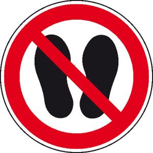 Verbotsschild, Betreten der Fläche verboten (Maße(Ø)/Material: 50mm/Folie,500er-Rolle (Art.Nr.: 31.1096))