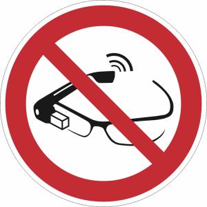 Verbotsschild, Datenbrillen verboten (Ausführung: Verbotsschild, Datenbrillen verboten (Art.Nr.: 21.a6365))