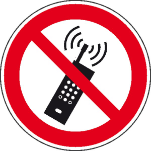 Verbotsschild, Eingeschaltete Mobiltelefone verboten (Maße Ø/Material: 100mm/Alu,geprägt (Art.Nr.: 11.0917))