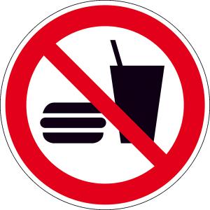 Verbotsschild, Essen und Trinken verboten (Maße(Ø)/Material : 100mm/Folie,selbstklebend (Art.Nr.: 21.a6180))