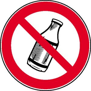 Verbotsschild, Flaschen hinauswerfen verboten (Ausführung: Verbotsschild, Flaschen hinauswerfen verboten (Art.Nr.: 21.0985))