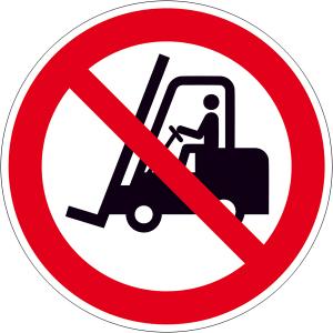 Verbotsschild, Für Flurförderzeuge verboten (Maße(Ø)/Material : 100 mm / Alu, geprägt (Art.Nr.: 11.a6109))
