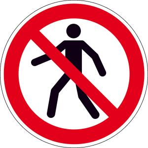 Verbotsschild, Für Fußgänger verboten (Maße(Ø)/Material: 50mm / Folie, 500er-Rolle (Art.Nr.: 31.a6320))