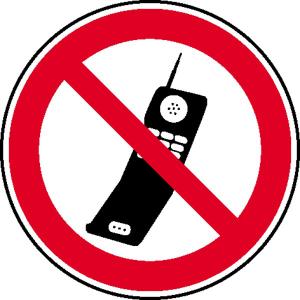 Verbotsschild, Handy benutzen verboten (Maße Ø/Material : 100 mm / Alu, geprägt (Art.Nr.: 11.0886))