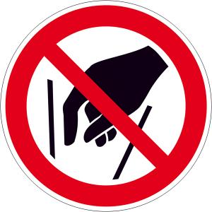 Verbotsschild, Hineinfassen verboten (Maße Ø/Material: 100mm/Folie,selbstklebend (Art.Nr.: 21.a6232))