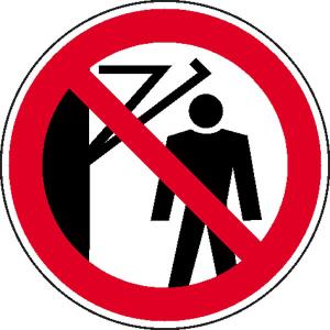 Verbotsschild, Hinter den Schwenkarm treten verboten (Maße Ø/Material: 100mm / Folie, selbstklebend (Art.Nr.: 21.0925))