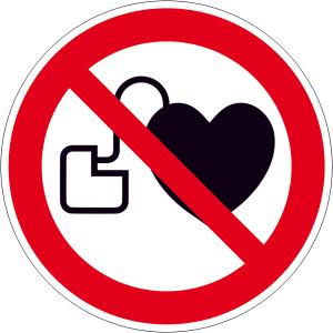 Verbotsschild, Kein Zutritt für Personen mit Herzschrittmachern oder implantierten Defibrillat... (Maße Ø/Material: 50mm /Folie, 6er-Bogen (Art.Nr.: 30.a6260))