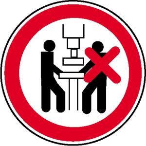 Verbotsschild, Maschine nur von einer Person zu bedienen (Maße Ø/Material : 100mm / Alu, geprägt (Art.Nr.: 11.1021))