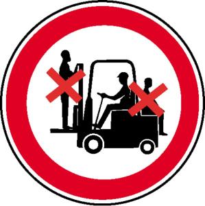 Verbotsschild, Mitfahren auf Gabelstapler verboten (Maße Ø/Material: 50mm / Folie, 6er-Bogen (Art.Nr.: 30.0949))