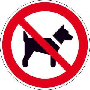 Verbotsschild, Mitführen von Hunden verboten (Maße(Ø)/Material: 200 mm / Alu, geprägt (Art.Nr.: 11.0999))