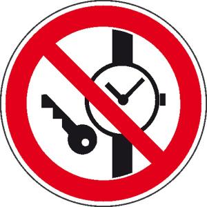 Verbotsschild, Mitführen von Metallteilen und Uhren verboten, Ø 100 mm aus Folie (selbstklebend) (Ausführung: Verbotsschild, Mitführen von Metallteilen und Uhren verboten, Ø 100 mm aus Folie (selbstklebend) (Art.Nr.: 21.0911))