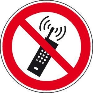 Verbotsschild, Mobilfunk verboten (Maße Ø/Material: 100mm/Alu,geprägt (Art.Nr.: 11.0917))