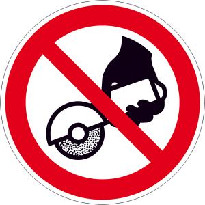 Verbotsschild, Nicht zulässig für Freihand- und handgeführtes Schleifen (Ausführung: Verbotsschild, Nicht zulässig für Freihand- und handgeführtes Schleifen (Art.Nr.: 30.a6277))