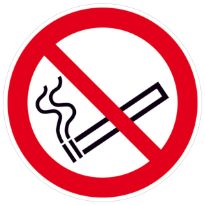 Verbotsschild, Rauchen verboten (Maße(Ø)/Material: 50 mm / Folie, 15er Bogen,<br>langnachleuchtend (Art.Nr.: 38.a6005))