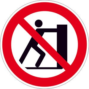 Verbotsschild, Schieben verboten (Maße(Ø)/Material: 200mm/Folie,selbstklebend (Art.Nr.: 21.a6205))