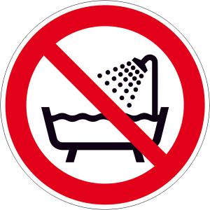 Verbotsschild, Verbot dieses Gerät in der Badewanne, Dusche ... zu benutzen (Maße Ø/Material : 100 mm/Folie,selbstklebend (Art.Nr.: 21.a6271))