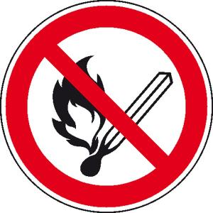 Verbotsschild, keine offene Flamme, Feuer, offene Zündquellen und Rauchen verboten (Maße(Ø)/Material: 200mm/Alu,langnachl. (Art.Nr.: 15.0810))