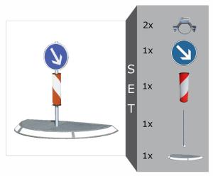 Verkehrsinsel Komplett-Set, mit Warnsäule und Verkehrszeichen, Breite 1600 oder 2000 mm