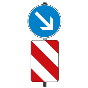 Verkehrsleitsäule, gerade Form (hinten offen), Alform (Ausführung:  <b>Folie Typ 2 (RA2)</b>, rechtsweisend<br> <b> Bestehend aus: </b><br>oben: 1 x VZ 222<br>unten: 1 x VZ 626-20 (Art.Nr.: 34934))