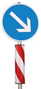 Verkehrsleitsäule, runde Form, schmal (Ausführung:  <b>Folie Typ 2 (RA2)</b>, rechtsweisend<br> <b> Bestehend aus: </b><br>oben: 1 x VZ 222<br>unten: 1 x VZ 626-20 (Art.Nr.: 38080))